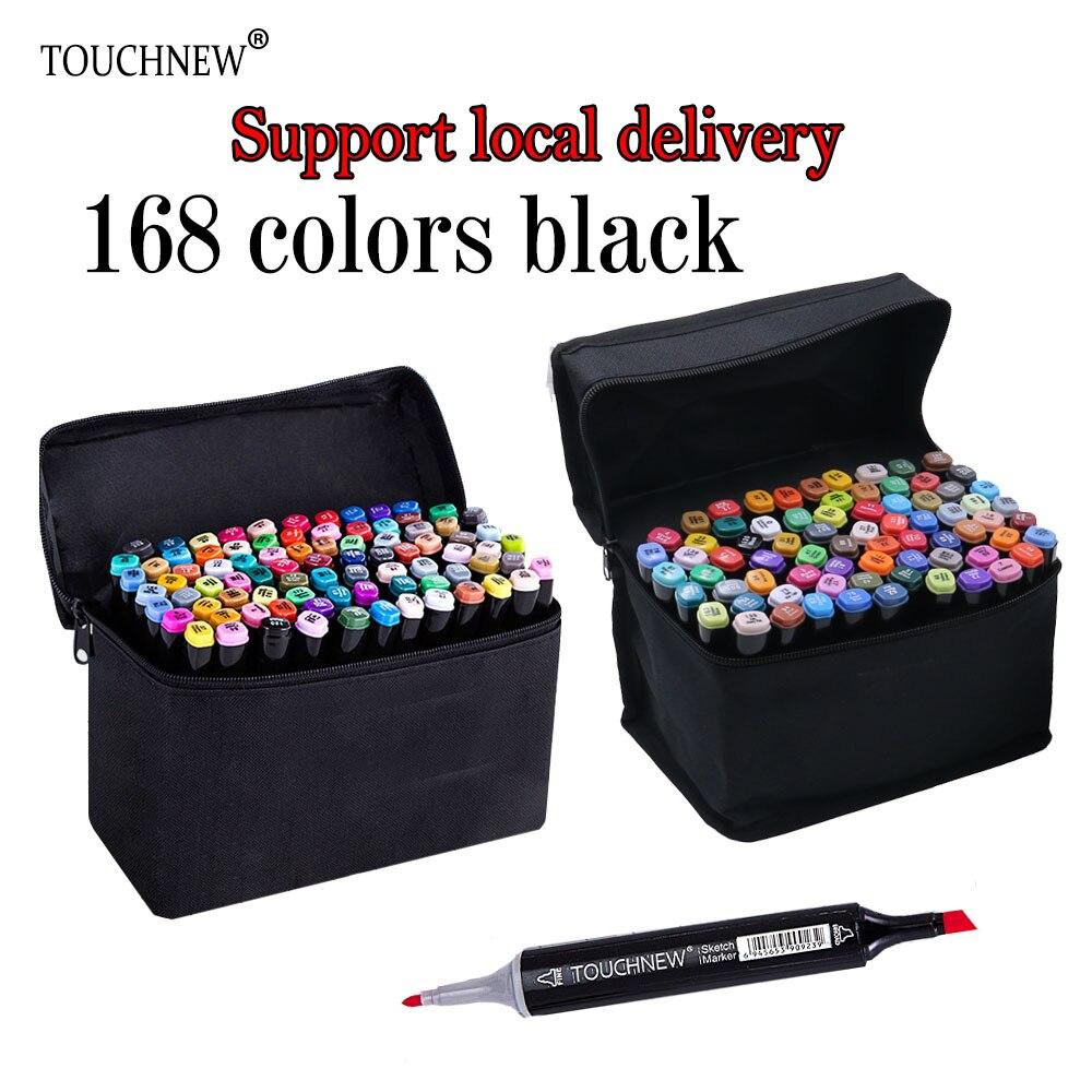 TOUCHNEW marqueur 168 couleur noir corps alcoolisé à base d'encre huileuse Art marqueur Set meilleur pour Manga double tête Art croquis marqueurs