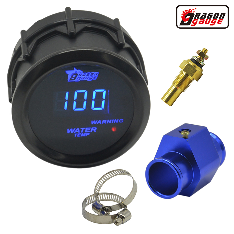 Dragon gauge 52mm Black Shell Blue Digital LED backLight Car Moter Vanntemperaturmåler Vann temp Meter med sensor