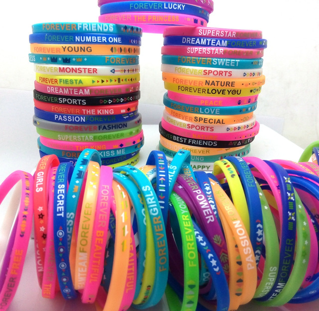 100x New Design Mixed Silicone Charm Bracelets Forever Wristbands Whole Kids Children Christmas Birthday Party