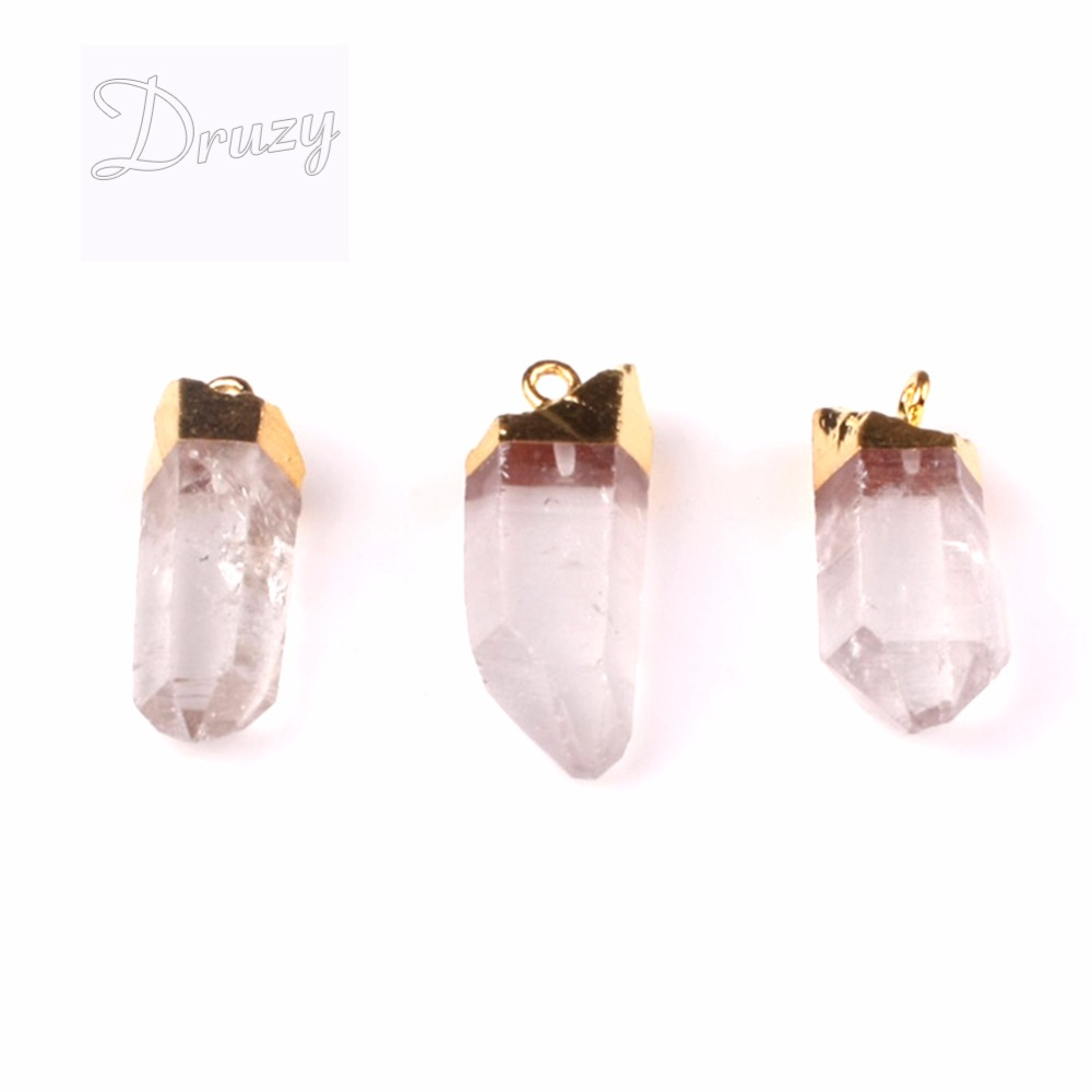 Gold-color Druzy Gem Stone Clear White Crystal Point Pendant Necklace,Drusy Crystal Quartz pendant necklace