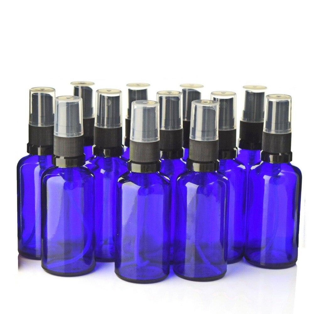 12 stücke 50ml Blau Glas Spray Flasche Leere Nachfüllbare Schwarz Feinen Nebel Sprayer Flaschen für Ätherische Öle Aromatherapie Parfüm