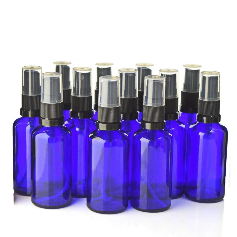 12pcs 50ml Blue Glass Spray Bottle Empty Refillable Black Fine Mist Sprayer Bottles for Essential Oils Aromatherapy Perfume-in Refillable Bottles from Beauty & Health