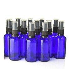 Botella de vidrio azul rellenable para aromaterapia, botellas con atomizador, 12 Uds., 50ml