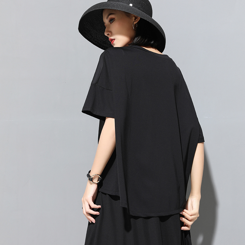 [EAM] 2020 New Spring Summer Round Neck Half Sleeve Black Button Split Joint Loose Big Size T-shirt Women Fashion Tide JX500 2
