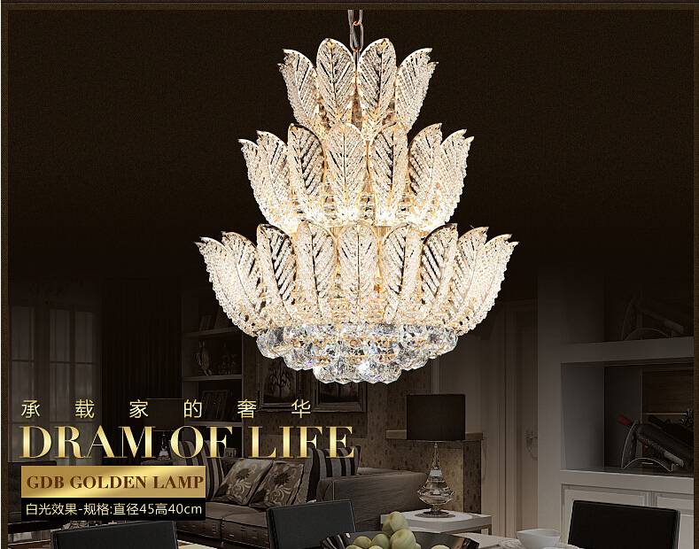 Newly Lotus Flower Gold Crystal Pendant Chandelier For