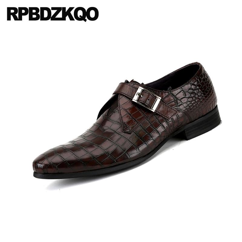 Brand Plus Size Men Dress Leather Shoes Luxury Italian Style Formal Shoes Men Plaid Crocodile Skin Dress Office Wedding Shoes Men's Shoes