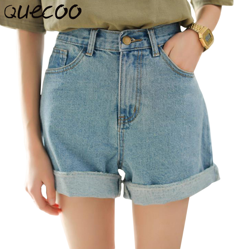 QUECOO S XL 2017 new women s summer jeans high waist curling was thin loose cowboy
