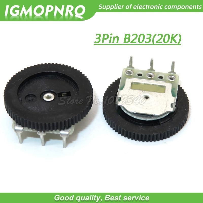 10 шт., 3-контактный потенциометр B203 20K, 16 х2 мм