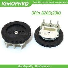 10 pces 3pin 16*2mm duplo engrenagem tuning dial potenciômetro b203 20 k dial potenciômetro igmopnrq