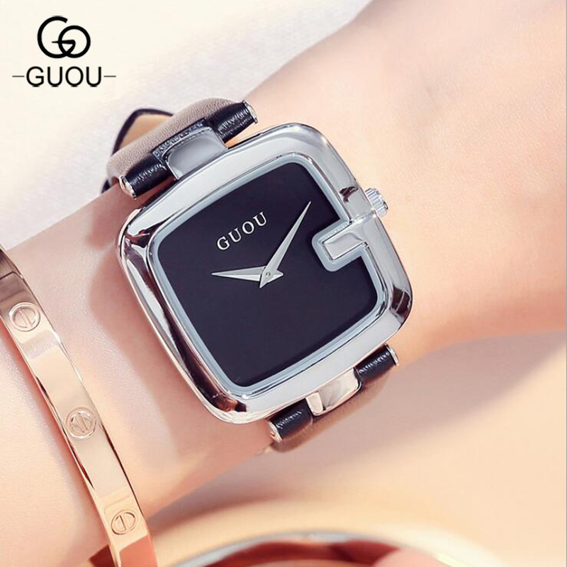 Silver GUOU Luxury Simple Trendy Watch Fashion Women's Unique Hours Ladies Leather Wristwatch Female Square Dress Clock 1 set white led daytime running fog light drl for toyota mark x reiz 2013 2015