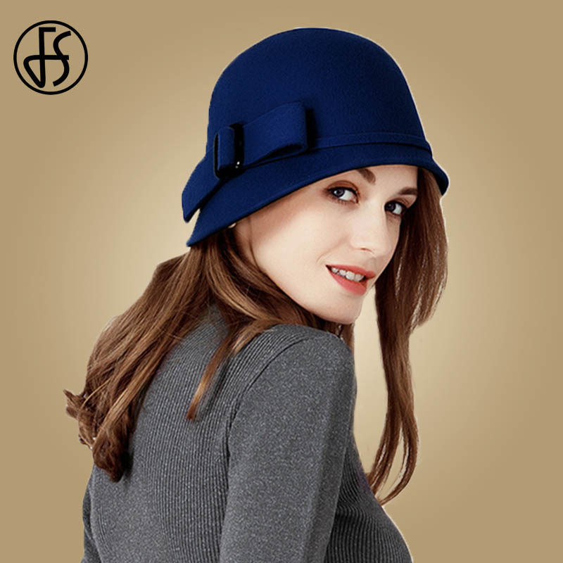 Image 3 - FS Vintage Black Wool Felt Cloche Hat With Bowknot Wide Brim Bowler Winter Fedoras Ladies Yellow Blue Floppy Derby Hats Cap-in Women's Fedoras from Apparel Accessories on AliExpress
