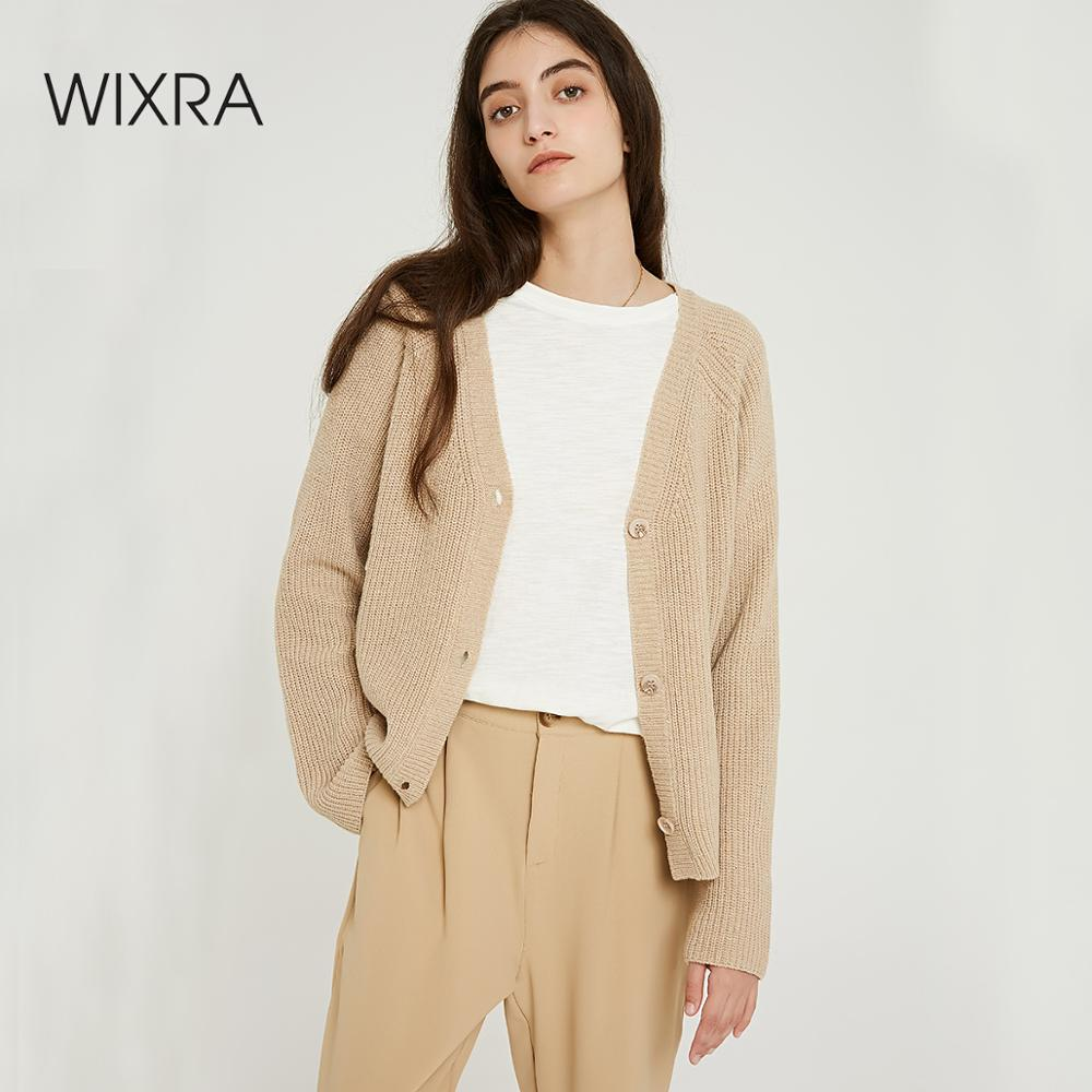 Wixra Women Stylish Knitted Cardigan 2019 Autumn Spring Pure Color V Neck Flare Sleeve Button Casual Ladies Sweaters