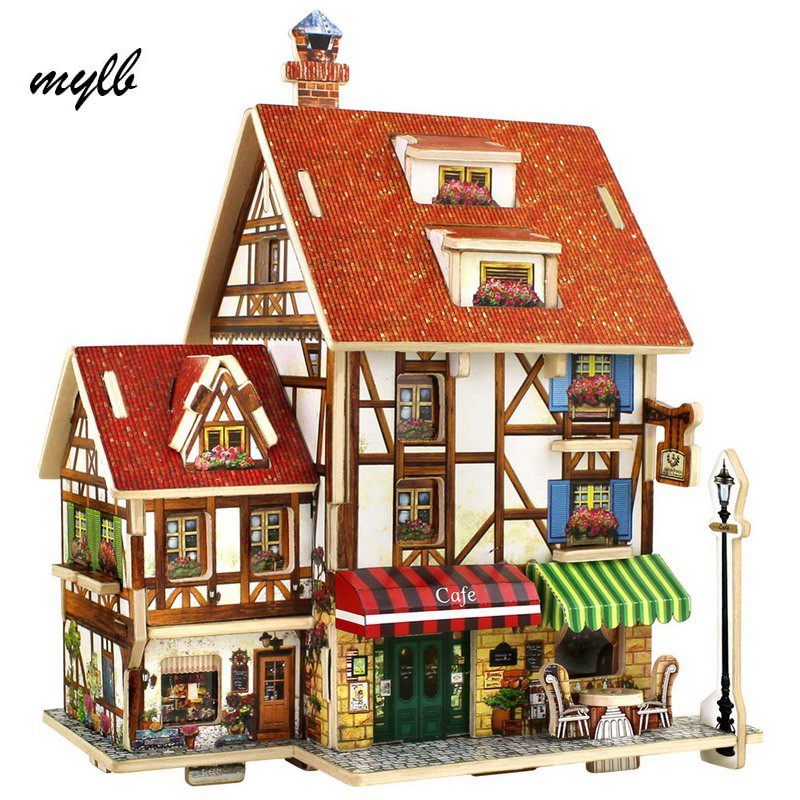 mylb 3D Wood Puzzle DIY Model Kids Toy France French Style Coffee House Puzzle,puzzle 3d building,wooden puzzles Free Shipping ds381b wooden 3d army puzzle toy model anti air vehicles diy assemble toys boys free shipping usa brazil