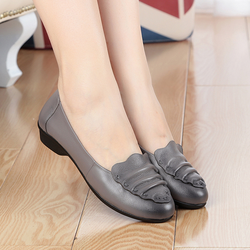 ФОТО Large size woman shoes # 35-43 2017 women's genuine leather shoes, spring singles shoes flats heel cowhide shoes elderly mother