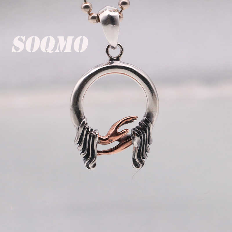 SOQMO 100% Real 925 Pure Silver Buddhistic bergamot pendant  for Women Men Gifts Jewelry fine silver antique style SQM179