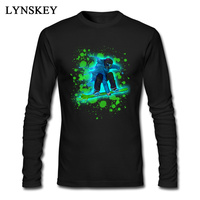 2018 Paint Splatter Custom T Shirts Artistic Snowboarder Print Man Clothing Long Sleeve Tee Shirt Apparel