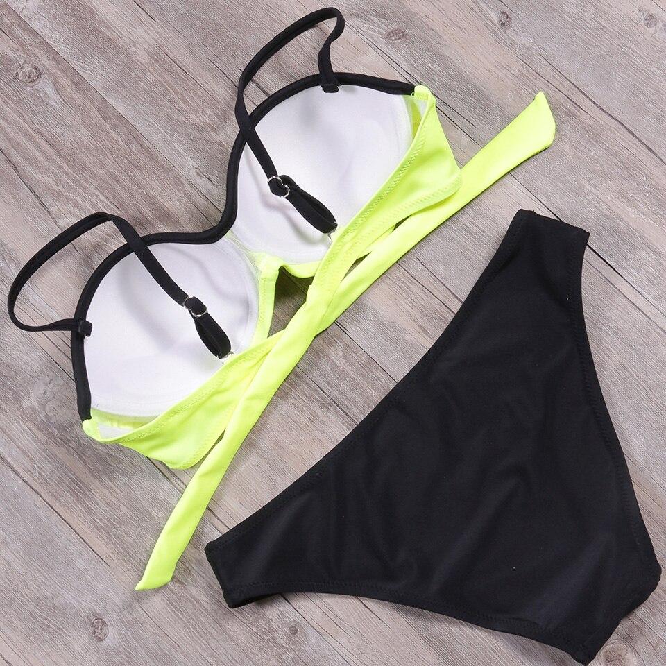 NAKIAEOI 2018 Newest Sexy Bikini Women Swimsuit Push Up Bikini Set Lace Up Retro Beach Bathing Suit Plus Size Swimwear Swim Wear 5