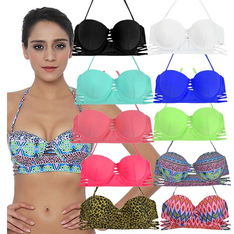 c920b6f6d80ee Sexy Bandeau Bikini Tops Women Push Up 2019 Female Brazilian Bathing Suits  Swimsuit Patchwork swimming bra Beach Wear Swimwear