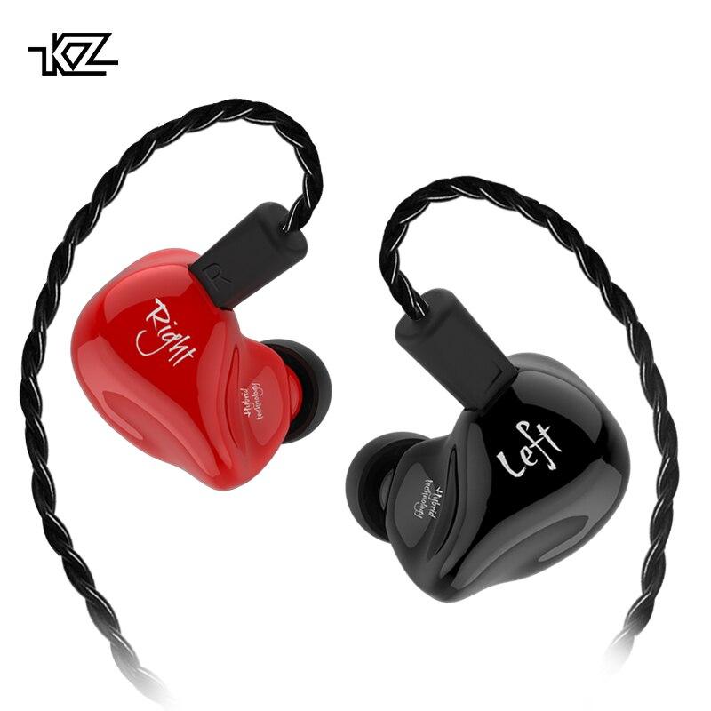 KZ ZS4 1BA + 1DD Hifi deporte en la oreja los auriculares dinámica conductor cancelación del ruido auriculares con micrófono Cable de reemplazo KZ ZS10 KZ AS10