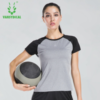 Vansydical Sports T Shirt Women S Yoga Running Sportswear Quick Drying Jacket Short Sleeved Breathable Training