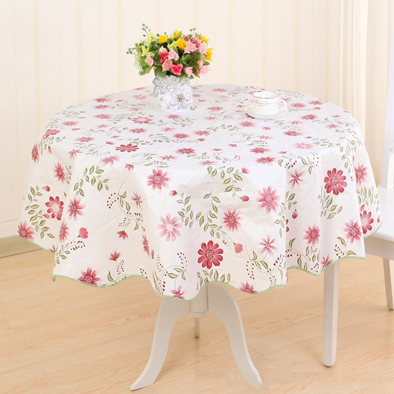 Round Table Cloth Pvc Plastic Table Cover Flowers Printed