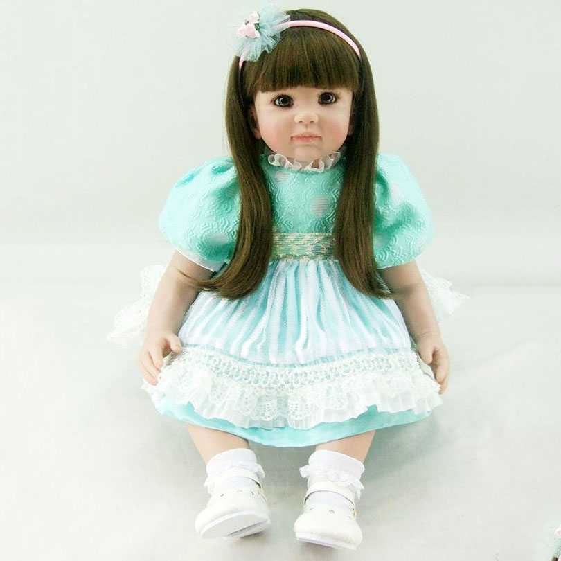 High-End Handmade Soft Dolls 60cm Cute Lovely Green Fashion Babies Realistic Gifts Doll Bedtime Toys For Girls about 60cm Dolls