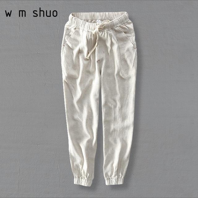 0f527d2d7d26 WMSHUO Plus Size S-5XL Men s Summer Casual Pants Cotton Linen Trousers  White Elastic Straight Pants Y284