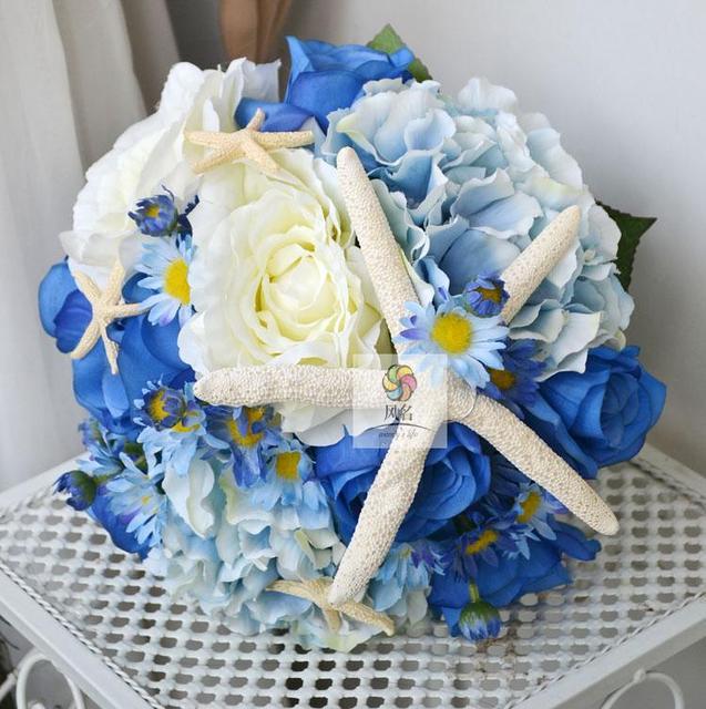 Handgemachte Kunstliche Blume Hochzeit Braut Mit Blumen Marine Wind