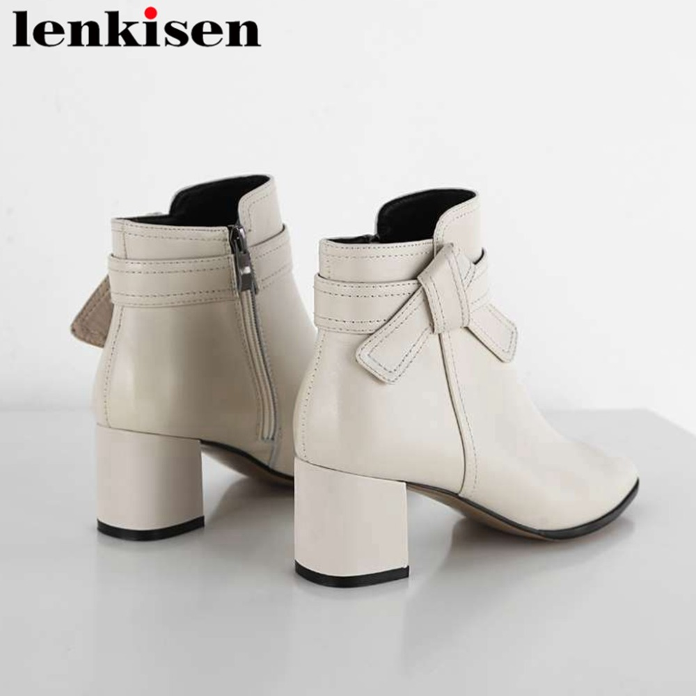Lenkisen sweet butterfly-knot high quality square toe strange high heels zip natural leather office lady women ankle boots L98Lenkisen sweet butterfly-knot high quality square toe strange high heels zip natural leather office lady women ankle boots L98