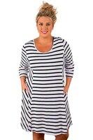 Women Plus Size Loose Dress Sleeve XXXL Lady Striped T Shirt Pocket Dresses Blue White O