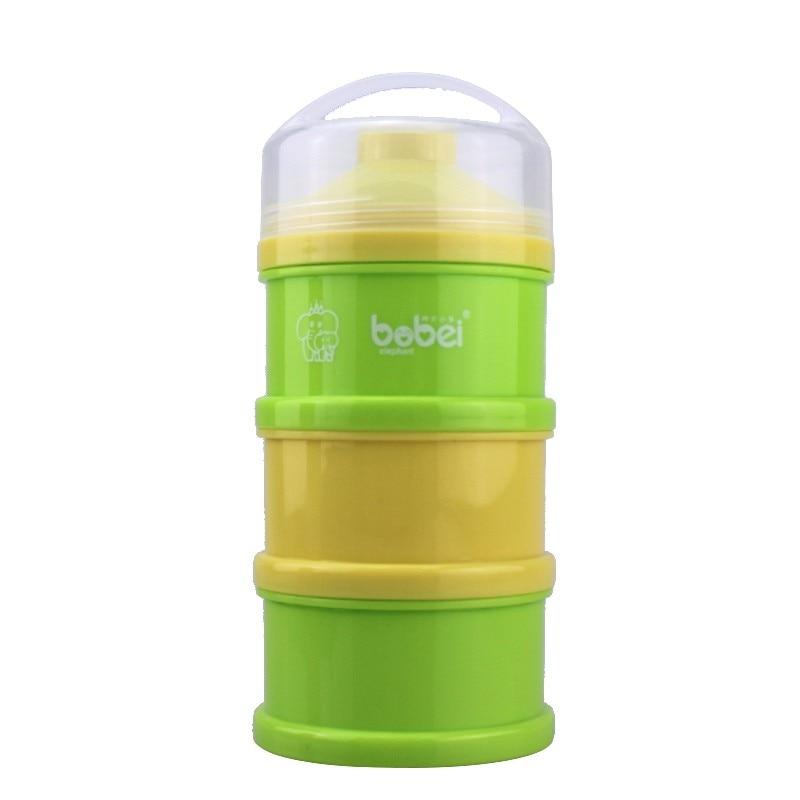 Baby Children Portable Powder Milk Box Colorful 3 Layer Independent Split Charging Lattice Snacks Storage PP