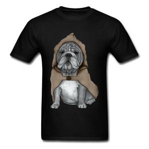 English Bulldog With Cloak Funny Men's T-shirt Personality Cartoon Dog Vintage Color T Shirt Classic Male Black Apparel