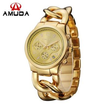 AMUDA Fashion Women Watches Gold Ladies Bracelet Quartz Watch with Calendar and Small Dial 24th Hour Mode relogio feminino дамски часовници розово злато