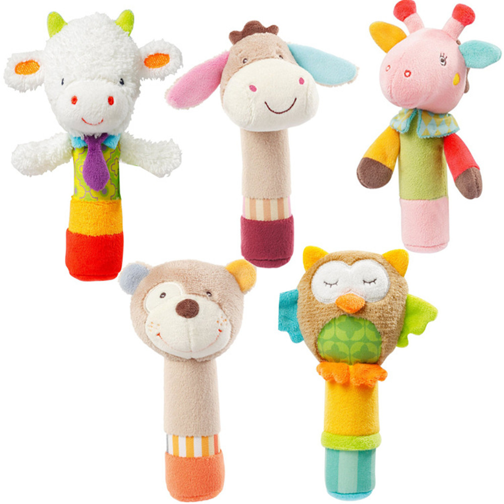Toy BB Stick Plush Cartoon Animal Sound Toys Rattle Newborn Baby Hand Puppet Enlightenment Plush Doll BB Stick