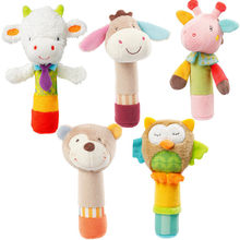 Toy BB stick Plush Cartoon Animal Sound Toys Rattle Newborn Baby Hand Puppet Enlightenment Plush Doll BB Stick(China)