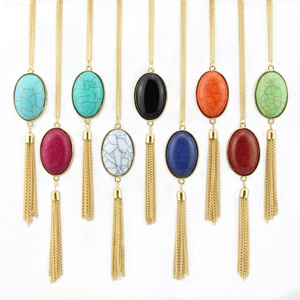 2016 Hot Selling Cabochon  Natural Stone Necklace Jewelry Gold Floating Long Tassel Necklace for Women Fashion Jewelry