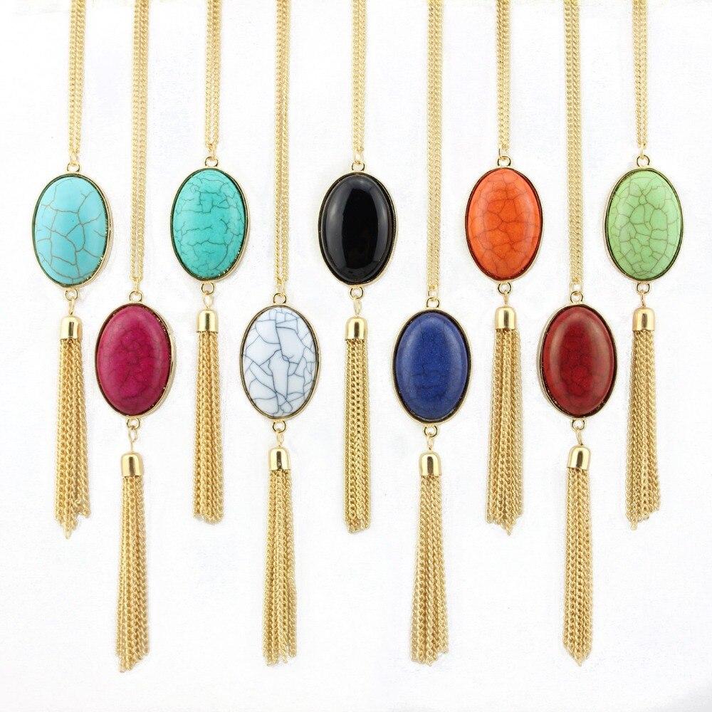 2016 Heißer Verkauf Cabochon Natürliche Stein Halskette Schmuck Gold Schwimm Lange Quaste Halskette Für Frauen Mode Schmuck