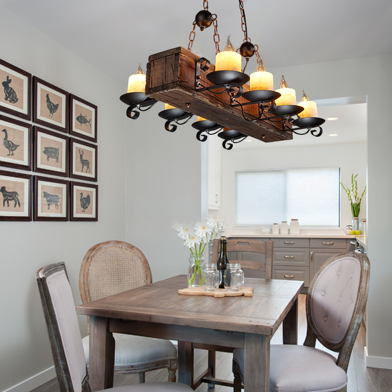 Loft Nordic American Chandelier 6/8 Heads Retro Vintage Lamp E14 Industrial Lighting Suspension Luminaire 3