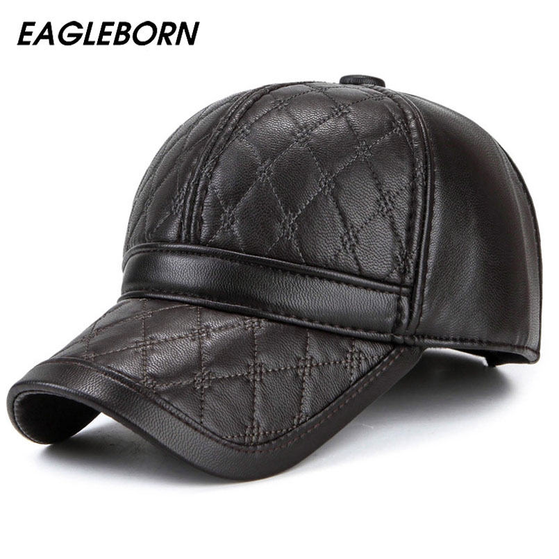 faux leather baseball cap wholesale black with fur pom winter font biker