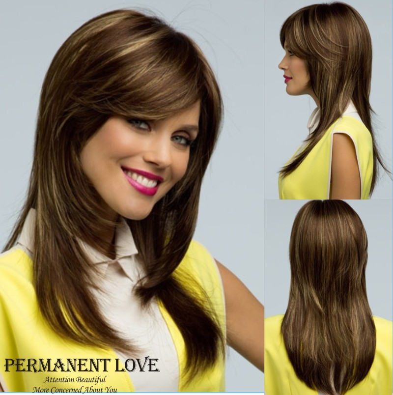 Natural Hairline Straight Long Layered Auburn Wig With Side Bangs