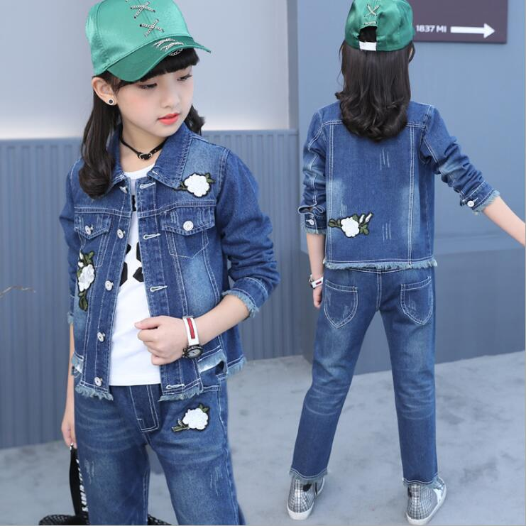 Baby Fashion Clothing Kids Girls Cowboy Suit Children Girls Denim Clothes Camellia embroidery Jacket+T-shirt+ Pants 3Pcs set children s clothing spring high quality cowboy three piece suit of the girls flowers fashion baby suit denim set for infants