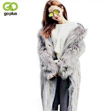 GOPLUS New 2018 Women Plus Size Women Clothing Fashion X Long Fake Fox Fur Coats Gray Faux Fur Coats Casaco Pele Falso C4331