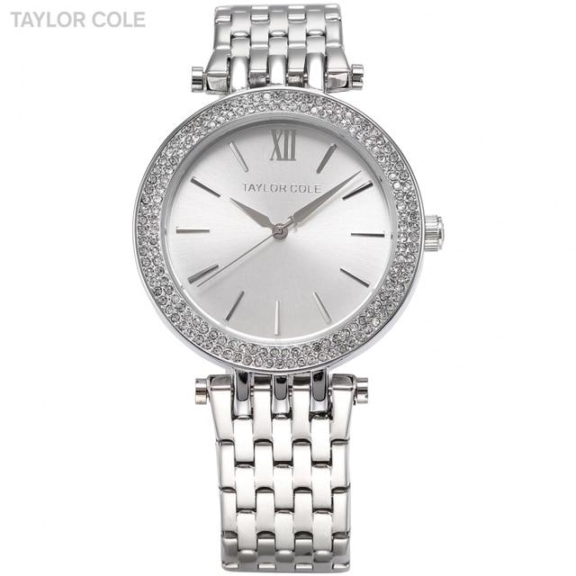 6f469a62904 COLE TAYLOR Mulheres Vestido Relógios Relogio feminino Prata Strass  Horloges Vrouwen Cinta de Aço Inoxidável Relógio