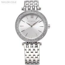 Taylor cole marca relojes mujer vestido relogio feminino lady correa reloj de cuarzo de moda de acero inoxidable del rhinestone de plata/tc003