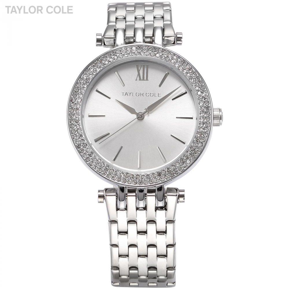TAYLOR COLE Women Dress Watches Relogio Feminino Silver Rhinestone Stainless Steel Strap Horloges Vrouwen Quartz Watch /TC003 taylor cole relogio tc013