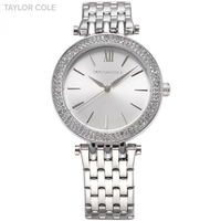 TAYLOR COLE Women Dress Watches Relogio Feminino Silver Rhinestone Stainless Steel Strap Horloges Vrouwen Quartz Watch /TC003