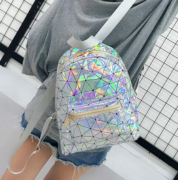 2019 <font><b>Backpack</b></font> New Women <font><b>Backpack</b></font> Mini Travel Bags Silver Laser <font><b>Backpack</b></font> Women Girls Shoulder Bag PU <font><b>Leather</b></font> Holographic <font><b>Backpack</b></font> image