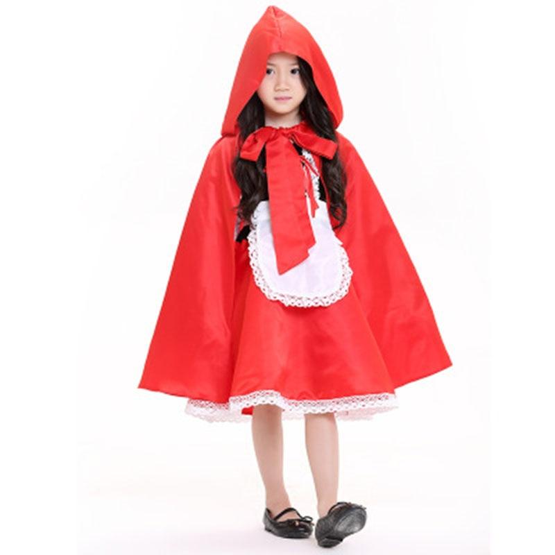New Kids Drama Girls Fairy Little Red Riding Hood Princess Dress Playful Cute Fancy Children Cosplay Costumes With Cape Cloak