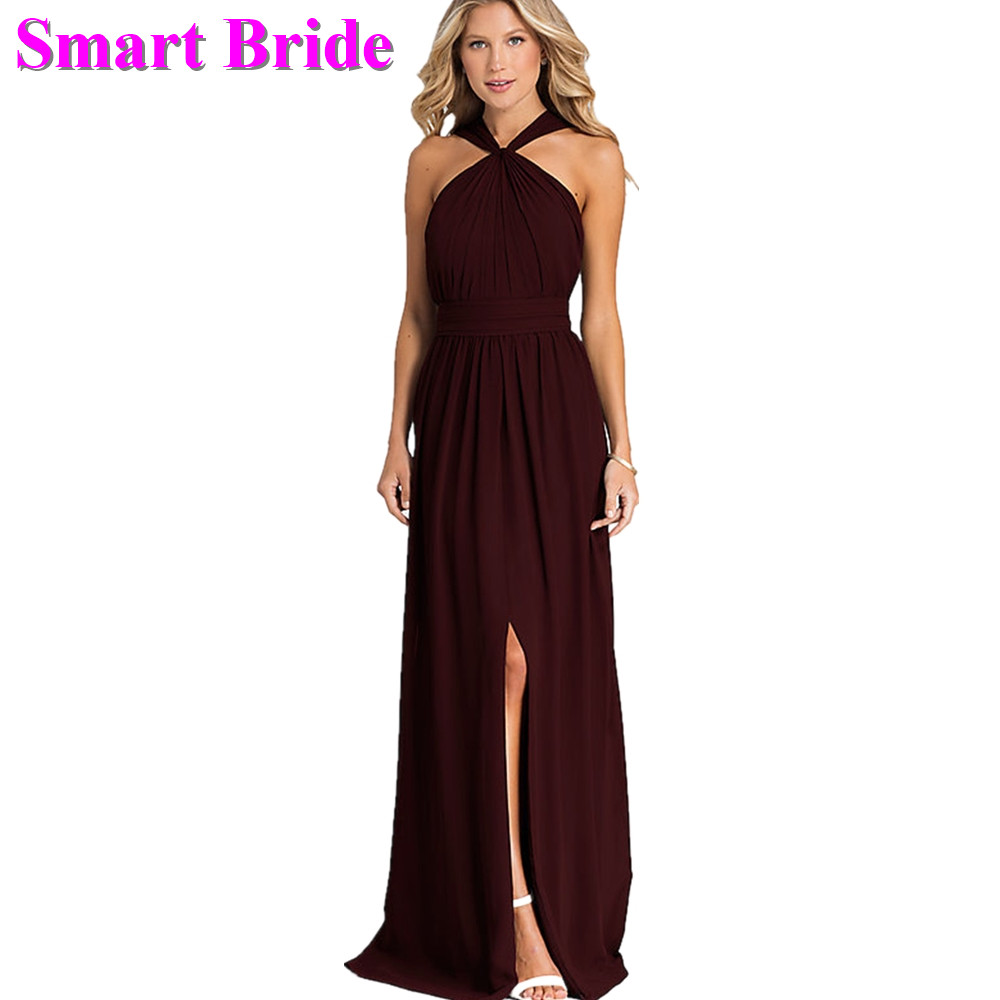 Chiffon   Bridesmaid     Dresses   A line Halter with Slit Floor Length Long Party Open Back Guest Prom Gown BD91