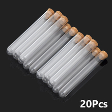 20pcs/lot 20x150mm 15x150mm Transparent Plastic Round Bottom Test Tube With Cork Stopper For Candy Beans Drink Storages